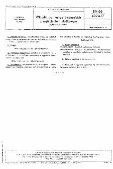 Wkładki do matryc śrubiarskich z wgłębieniem stożkowym - Główne wymiary BN-66/4274-17