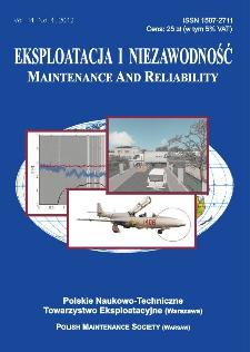 Eksploatacja i Niezawodność = Maintenance and Reliability Vol. 14 No. 4, 2012