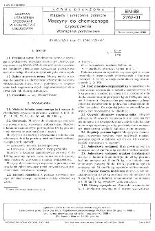 Maszyny i urządzenia pralnicze - Maszyny do chemicznego czyszczenia - Wymagania podstawowe BN-88/2762-01