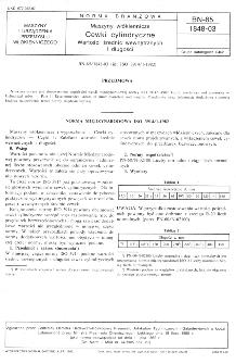 Maszyny włókiennicze - Cewki cylindryczne - Wartości średnic wewnętrznych i długości BN-85/1848-03