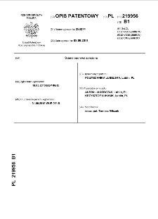Ściana oporowa sprężona : opis patentowy nr 219956