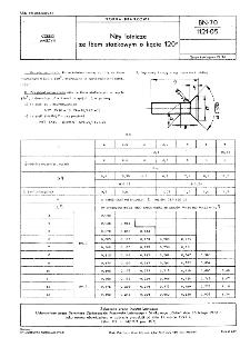Nity lotnicze ze łbem stożkowym o kącie 120° BN-70/1121-05