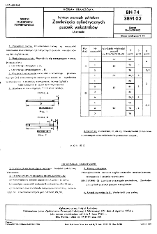 Lotnicze przyrządy pokładowe - zamknięcia cylindrycznych puszek wskaźników - uszczelki BN-74/3891-02