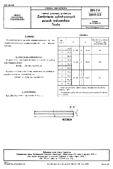 Lotnicze przyrządy pokładowe - zamknięcia cylindrycznych puszek wskaźników - szyby BN-74/3891-03