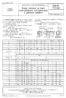 Śruby lotnicze ze łbem sześciokątnym zmniejszonym z gwintem krótkim BN-76/1111-04