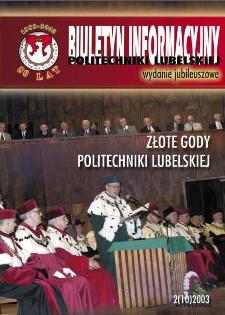 Biuletyn informacyjny Politechniki Lubelskiej 2(10)/2003 : wydanie jubileuszowe : Złote gody Politechniki Lubelskiej