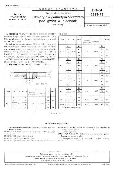 Konstrukcje lotnicze - Otwory z wywiniętym obrzeżem pod gwint w blachach - Wymiary BN-84/3813-78