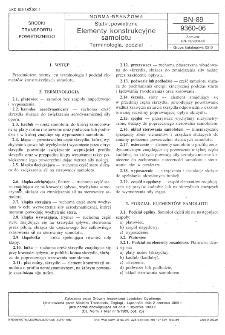 Statki powietrzne - Elementy konstrukcyjne samolotu - Terminologia, podział BN-89/9360-06