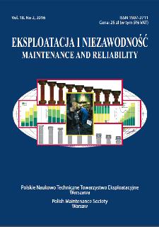 Eksploatacja i Niezawodność = Maintenance and Reliability Vol. 18 No. 2, 2016