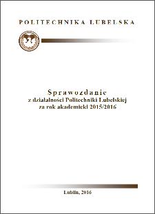 Sprawozdanie z działalności Politechniki Lubelskiej za rok akademicki 2015/2016