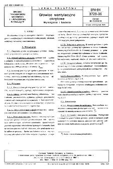 Głowice wentylacyjne okrętowe - Wymagania i badania BN-84/3723-05