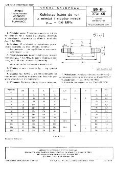 Kołnierze luźne do rur z miedzi i stopów miedzi pnom=0,6 MPa BN-84/3731-05