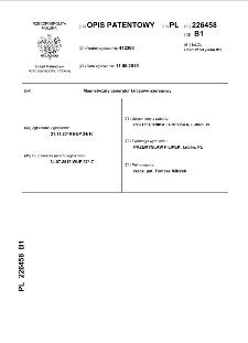 Magnetyczny generator tarczowy szeregowy opis patentowy nr 226458