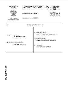 Pantograf przestrzenny prosty opis patentowy nr 226460