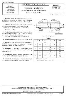 Przejścia grodziowe rurociągowe ze złączkami pnom=2,5 MPa BN-86/3731-53