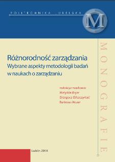Różnorodność zarządzania : Wybrane aspekty metodologii badań w naukach o zarządzaniu
