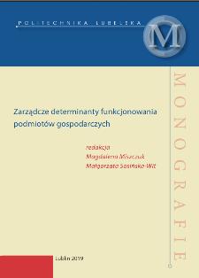 Zarządcze determinanty funkcjonowania podmiotów gospodarczych