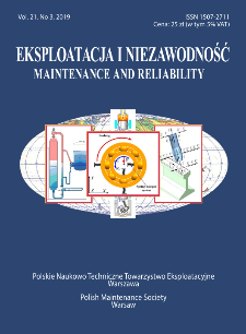 Eksploatacja i Niezawodność = Maintenance and Reliability Vol. 21 No.3, 2019