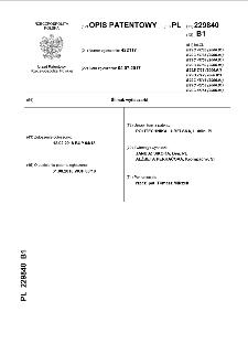 Ślimak wytłaczarki : opis patentowy nr 229840