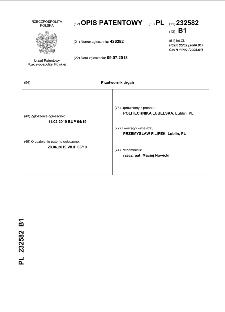Przetwornik drgań : opis patentowy nr 232582