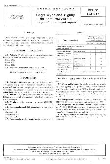 Cegła wypalana z gliny do obmurowywania urządzeń przemysłowych BN-72/6741-17