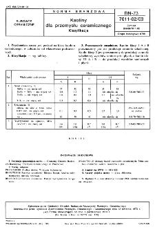Kaoliny dla przemysłu ceramicznego - Klasyfikacja BN-73/7011-02/03