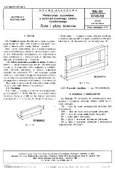 Prefabrykaty budowlane z autoklawizowanego betonu komórkowego - Dyle i płyty ścienne BN-83/6746-03