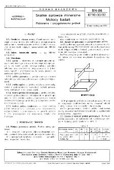 Skalne surowce mineralne - Metody badań - Pobieranie i przygotowanie próbek BN-86/6710-03/02
