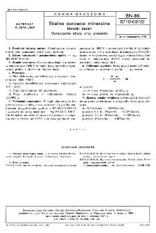 Skalne surowce mineralne - Metody badań - Oznaczanie straty przy prażeniu BN-86/6710-03/22