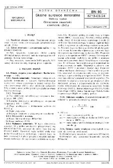 Skalne surowce mineralne - Metody badań - Oznaczanie zawartości krzemionki (SiO2) BN-86/6710-03/24