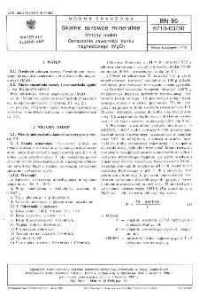 Skalne surowce mineralne - Metody badań - Oznaczanie zawartości tlenku magnezowego (MgO) BN-86/6710-03/30
