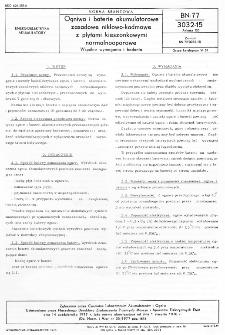 Ogniwa i baterie akumulatorowe zasadowe niklowo-kadmowe z płytami kieszonkowymi normalnooporowe - Wspólne wymagania i badania BN-77/3032-15 Arkusz 00