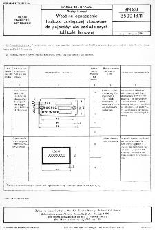 Napisy i znaki - Wspólne oznaczenie tabliczki zastępczej stosowanej do pojazdów nie posiadających tabliczki firmowej BN-80/3500-13.11