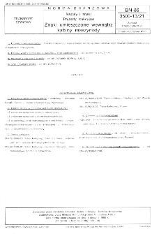 Napisy i znaki - Pojazdy trakcyjne - Znaki umieszczane wewnątrz kabiny maszynisty BN-86/3500-13/21