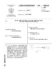 Sposób i układ sterowania elektrycznego silnika indukcyjnego zasilanego z generatora fotowoltaicznego : opis patentowy nr 196130