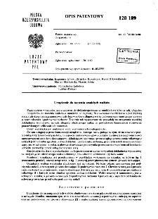 Urządzenie do toczenia smukłych wałków : opis patentowy nr 120189