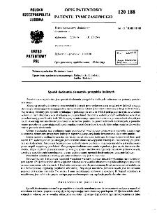 Sposób docierania elementów przegubów kulistych : opis patentowy patentu tymczasowego nr 120188