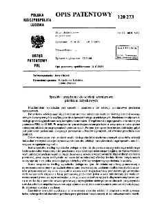 Sposób i urządzenie do selekcji wymiarowej pierścieni łożyskowy : opis patentowy nr 120273
