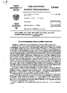 Zawór do homogenizacji zwłaszcza produktów spożywczych : opis patentowy patentu tymczasowego nr 120842