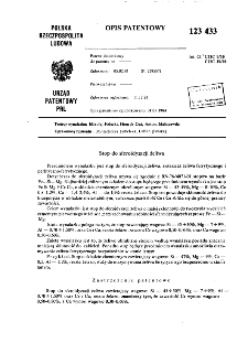 Stop do sferoidyzacji żeliwa : opis patentowy nr 123433