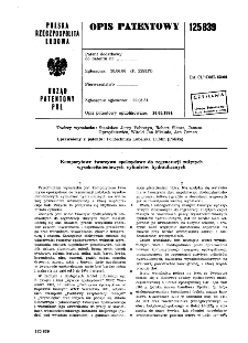 Kompozytowe tworzywo epoksydowe do regeneracji zużytych wysokociśnieniowych cylindrów hydraulicznych : opis patentowy nr 125839