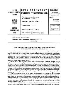 Sposób i układ urządzeń do określania stanu technicznego maszyn tłokowych, technicznego maszyn tłokowych : opis patentowy patentu tymczasowego nr 105851