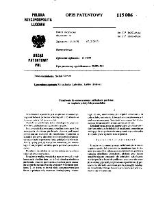 Urządzenia do samoczynnego zakładania pierścieni na trzpieniu palety lub przenośnika : opis patentowy nr 115006