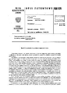 Sposób i urządzenie do pomiaru temperatury tarcia : opis patentowy nr 100179