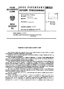 Urządzenie do naporowego dogniatania metali : opis patentowy patentu tymczasowego nr 100632