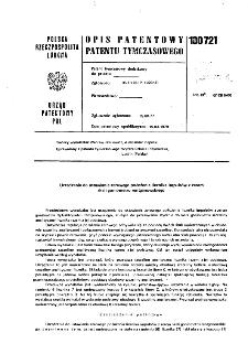 Urządzenie do ustawiania zerowego położenia licznika impulsów z zerem skali goniometru rentgenowskiego : opis patentowy patentu tymczasowego nr 100721