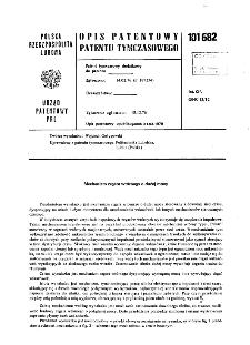 Mechanizm zegara wtórnego o dużej mocy : opis patentowy patentu tymczasowego nr 101682