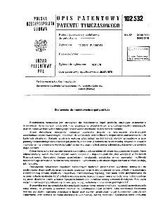 Stanowisko do modelowania drgań podłoża : opis patentowy patentu tymczasowego nr 102532