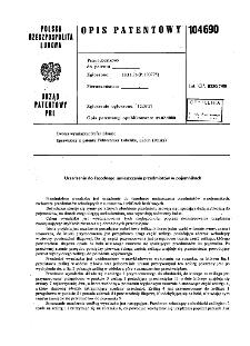 Urządzenie do łagodnego umieszczania przedmiotów w pojemnikach : opis patentowy nr 104690