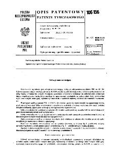 Uchwyt samocentrujący : opis patentowy patentu tymczasowego nr 106156